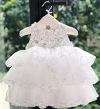 Girly Shop's White Cute & Beautiful Floral Applique Round Neckline Sleeveless Tiered Layered Baby Infant Toddler Flower Party Dress