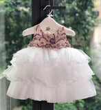 Girly Shop's Pink White Cute & Beautiful Floral Applique Round Neckline Sleeveless Tiered Layered Baby Infant Toddler Flower Party Dress