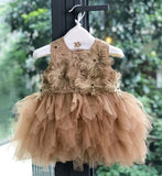 Girly Shop's Gold & Brown Handmade Floral Embroidered Gold Thread Round Neckline Long Sleeve & Sleeveless Tiered Layered Baby Infant Flower Party Dress