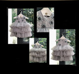 Girly Shop's Gray Cute & Beautiful Floral Applique Round Neckline Sleeveless Tiered Layered Baby Infant Toddler Flower Party Dress
