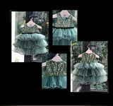 Girly Shop's Green Cute & Beautiful Floral Applique Round Neckline Sleeveless Tiered Layered Baby Infant Toddler Flower Party Dress