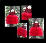 Girly Shop's Red Cute & Beautiful Floral Applique Round Neckline Sleeveless Tiered Layered Baby Infant Toddler Flower Party Dress