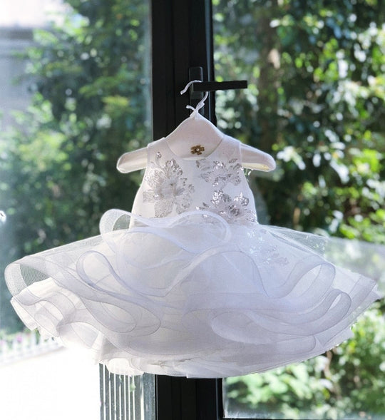 Girly Shop's White Cute & Beautiful Floral Embroidered Applique Round Neckline Sleeveless Tiered Layered Baby Infant Toddler Flower Party Dress