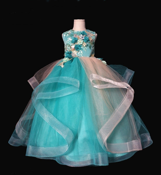 Girly Shop's Blue Green Floral Applique Round Neckline Sleeveless Knee & Floor Length Infant Toddler Little & Big Girl Floating Layers Gown