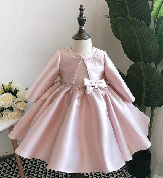 Girly Shop's Pink Beautiful Pearl & Rhinestone Applique Sheer Round Neckline Sleeveless Knee Length Large Bow Back Baby Infant Toddler Little Girl Party Dress With Matching Coat