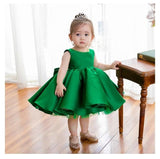 Girly Shop's Green Beautiful Round Neckline Sleeveless Knee Length Big Bow Back Infant Toddler Little & Big Girl Party Ruffle Dress