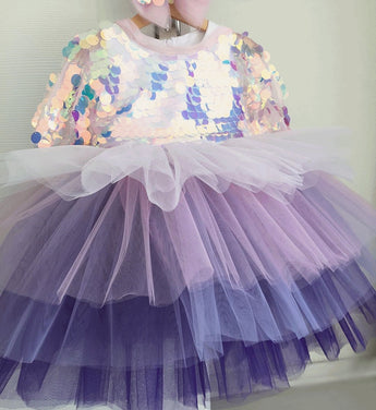 Girly Shop's Purple Gradient Beautiful Sparkling Sequin Applique Round Neckline Short Sleeve Knee Length Baby Infant Toddler Little Girl Party Dress