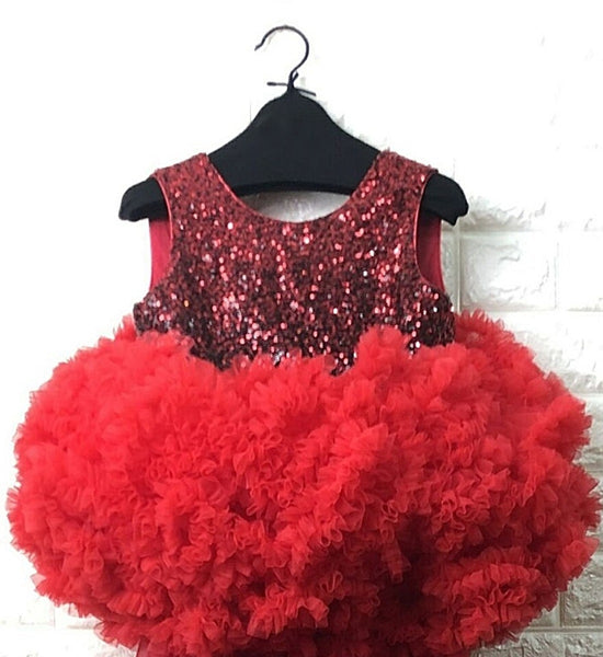 Girly Shop's Red Cute & Beautiful Sparkle Sequin Round Neckline Sleeveless Tiered Layered Baby Infant Toddler V Back Party Dress