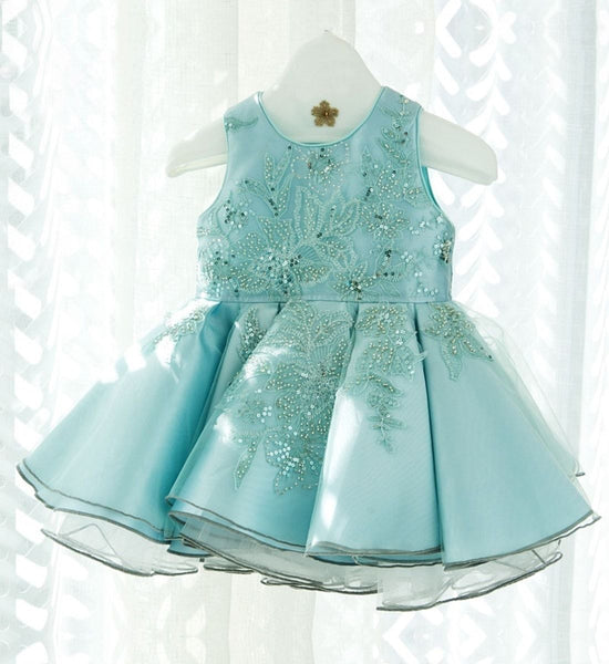 Girly Shop's Turquoise Cute & Beautiful Floral Embroidered Applique Pearl Round Neckline Sleeveless Tiered Layered Baby Infant Toddler Flower Party Dress