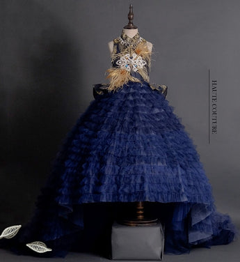 Girly Shop's Gold & Dark Blue Elegant Design Ostrich Feathers & Beaded Applique High Neckline Sleeveless Infant Toddler Little & Big Girl Tiered Train Ball Gown