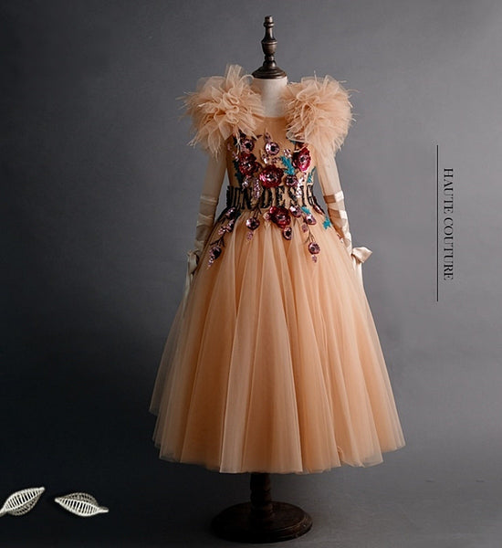 Girly Shop's Apricot Floral Sequin Applique Round Neckline Bow Long Sleeve Infant Toddler Little & Big Girl Multi Layered Shoulder Corsage Dress