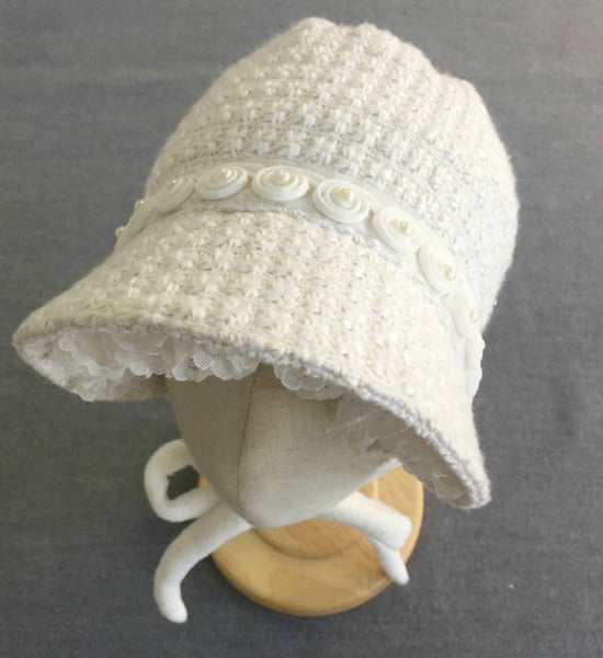 Girly Shop's Ivory Baby Bonnet
