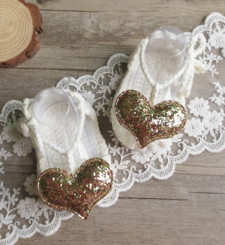 Girly Shop's Off White & Gold Cute & Comfortable Newborn Baby Pre walker Infant Hand Knitted Gold Heart Baby Sandals