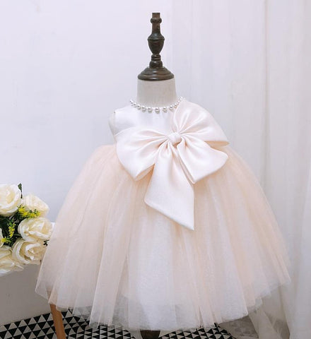 Girly Shop's Light Champagne Beautiful Large Bow Applique Pearl Round Neckline Sleeveless Knee Length Baby Infant Toddler Little Girl Party Bow Dress