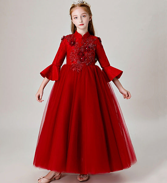 Girly Shop's Red Simple & Elegant Floral Beaded Applique High Neckline Bell Sleeve Layered Ankle Length Infant Toddler Little & Big Girl Party Gown