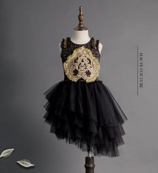 Girly Shop's Black Elegant Beaded Embroidery Applique Round Neckline Sleeveless Knee Length Infant Toddler Little & Big Girl High Low Dress