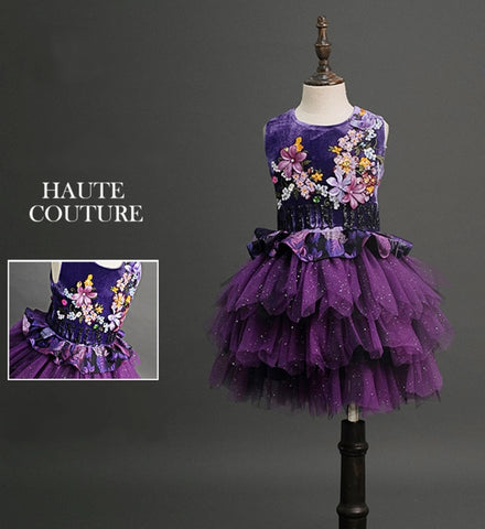 Girly Shop's dark Purple Elegant Floral Applique Round Neckline Sleeveless Tiered Layered Knee Length Infant Toddler Little & Big Girl Flower Tiered Dress