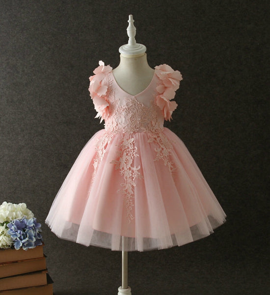 Girly Shop's Peachy Pink Beautiful Sweetheart Neckline Sleeveless Knee Length Infant Toddler Little & Big Girl Embroidered Flower Girl Lace Dress