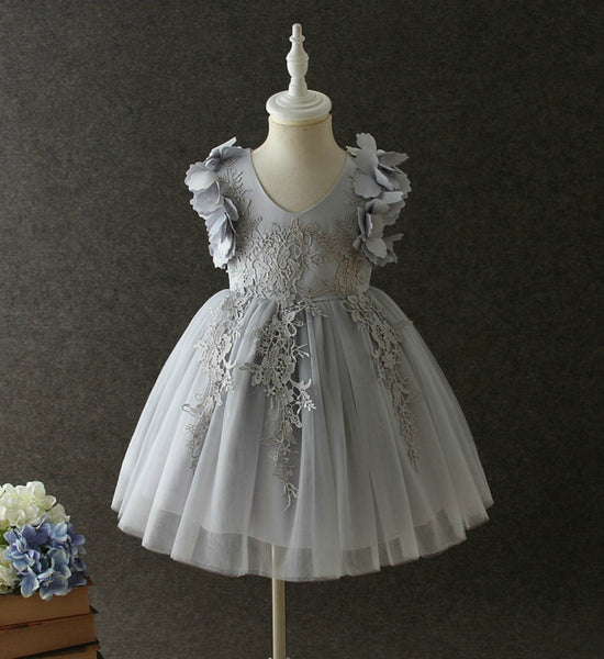 Girly Shop's Gray Beautiful Sweetheart Neckline Sleeveless Knee Length Infant Toddler Little & Big Girl Embroidered Flower Girl Lace Dress