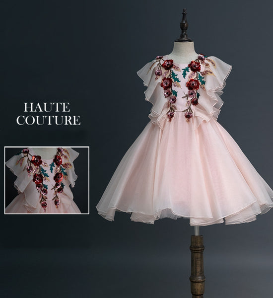 Girly Shop's Bare Pink Elegant Floral Sparkle Sequin Applique Sleeveless Knee Length Infant Toddler Little & Big Girl Ruffle Dress