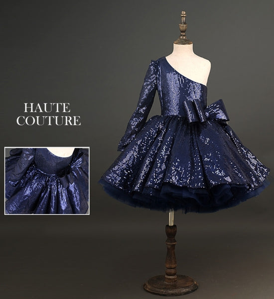 Girly Shop's Blue Elegant One Shoulder Sparkle Sequin Long Sleeve Knee Length Infant Toddler Little & Big Girl Layered Bow Dress