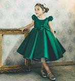 Girly Shop's Dark Green Pearl Applique Cap Sleeve Tea Length Bow Back Baby Infant Toddler Little & Big Girl Party Dress