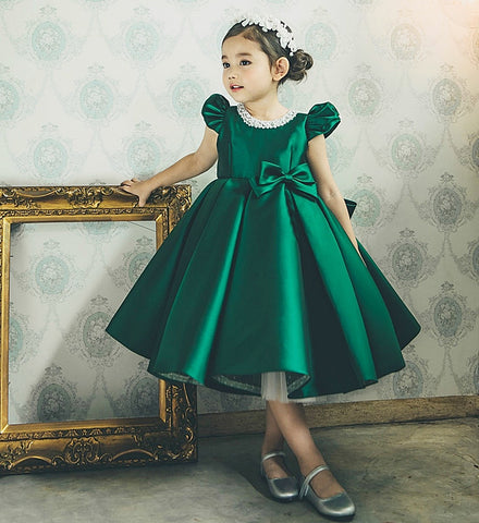 8832ab536f34 Girly Shop's Dark Green Pearl Applique Cap Sleeve Tea Length Bow Back Baby  Infant Toddler Little