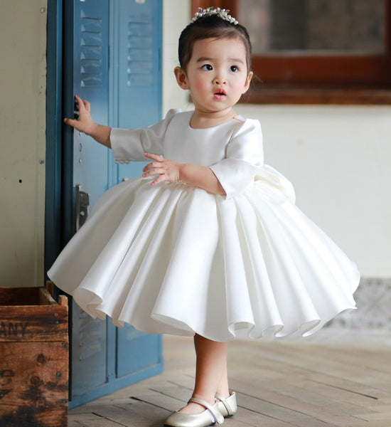 Girly Shop's White Beautiful Round Neckline Half Sleeve Knee Tea Length Bow Back Baby Infant Toddler Little & Big Girl Party Ruffle Dress