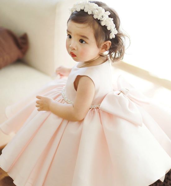 Girly Shop's Light Pink Beautiful Round Neckline Sleeveless Knee Tea Length Big Bow Back Baby Infant Toddler Little & Big Girl Pearl Applique Party Dress