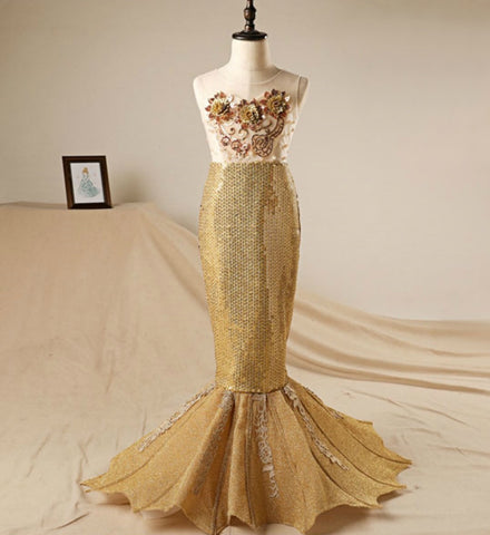 Girly Shop's Gold Flower Sequin Applique Sheer Neckline Pageant Prom Princess Junior Bridesmaid Mermaid Dress