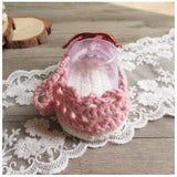 Girly Shop's Pink & Red Cute & Comfortable Newborn Baby Pre walker Infant Hand Knitted Red & Gold Crown Baby Sandals