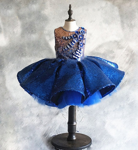 Girly Shop's Royal Blue Sparkly & Glitter Sequin Applique Round Neckline Sleeveless Tiered Layered Infant Toddler Little & Big Girl Party Sequin Gown