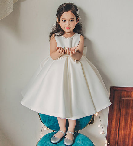 Girly Shop's White Simple Round Neckline Sleeveless Knee - Tea Length Big Bow Back Baby Infant Toddler Little & Big Girl Party Dress