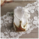 Girly Shop's Off White & Gold Cute & Comfortable Newborn Baby Pre walker Infant Hand Knitted Red & Gold Crown Baby Sandals