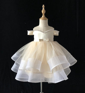 Girly Shop's Champagne Beautiful Pearl Applique Sheer Round Neckline Short Sleeve Knee Length Large Bow Back Tiered Layered Baby Infant Toddler Little Girl Party Dress