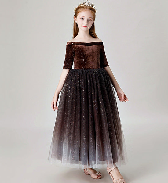 Girly Shop's Dark Brown Simple Floral Beaded Applique Bateau Neckline Half Sleeve Ankle Length Multi Layered Infant Toddler Little & Big Girl Party Gown