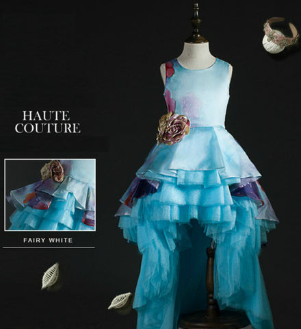 Girly Shop's Sky Blue Beautiful Flower Vine Applique Round Neckline Sleeveless Tiered Layered Infant Toddler Little & Big Girl Princess High Low Ruffle Dress