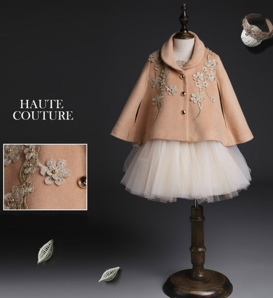 Girly Shop's Light Camel Shawl Collar Vintage Infant Toddler Little & Big Girl Embroidered Flower Cape/Cloak