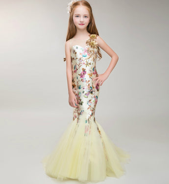 Girly Shop's Light Yellow Sequin Flower Applique Sheer Neckline Pageant Prom Princess Junior Bridesmaid Trumpet Dress