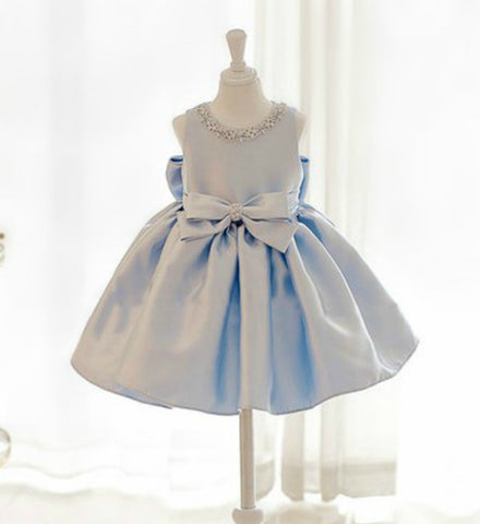 Girly Shop's Sky Blue Elegant Rhinestone Neckline Applique Sleeveless Knee Length Big Bow Back Baby Little & Big Girl Flower Girl Ruffle Dress