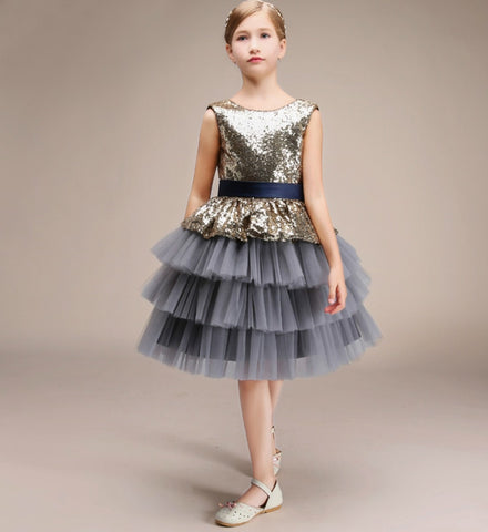Girly Shop's Gray Tile Unique Design Sparkle Sequin Round Neckline Sleeveless Knee Length Infant Toddler Little & Big Girl Tiered Layered Tutu Dress
