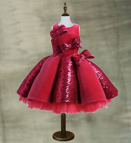 Girly Shop's Red Big Bow Applique Round Neckline Sleeveless Tiered Layered Infant Toddler Little & Big Girl Sequin Party Gown