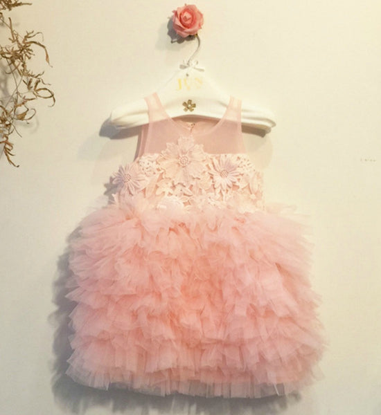 Girly Shop's Pink Embroidered Flower Appliques Sleeveless Knee Length Sheer Round Neckline Tiered Dress