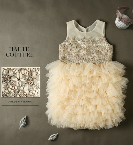 Girly Shop's Champagne Embroidered Gold Flower Appliques Sleeveless Knee Length Sheer Round Neckline Tiered Dress