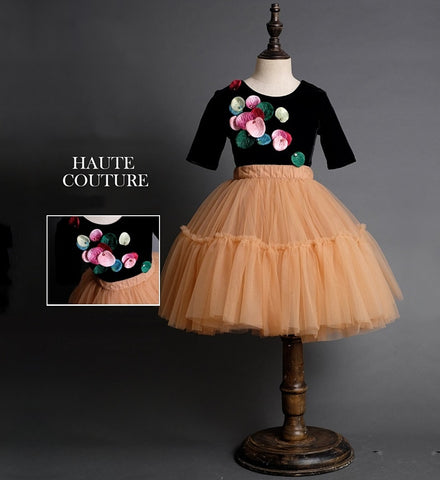 Girly Shop's Black & Apricot Floral Applique Round Neckline Short Sleeve Infant Toddler Little & Big Girl Party Dress With Elastic Waist Tutu Skirt