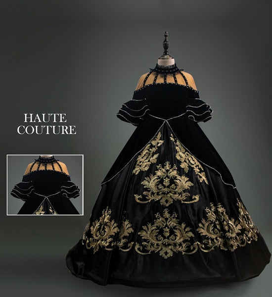 Girly Shop's Black & Gold Classique Gold Thread Baroque Applique High Neck Flare Ruffle Half Sleeve Infant Toddler Little & Big Girl Rococo Ball Gown