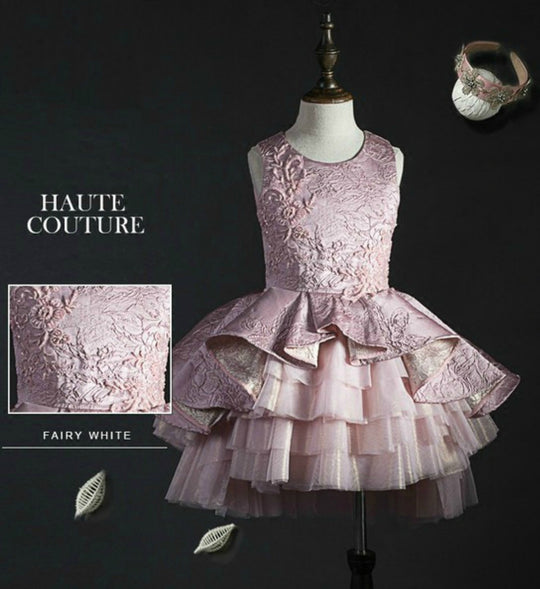 Girly Shop's Pink Floral Vine Textured Tiered High Low Dress