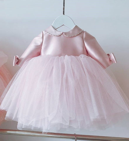 Girly Shop's Morandi Pink Beautiful Beaded Applique Peter Pan Collar Long Sleeve Knee - Tea Length Baby Infant Toddler Little Girl Large Bow Back Dress
