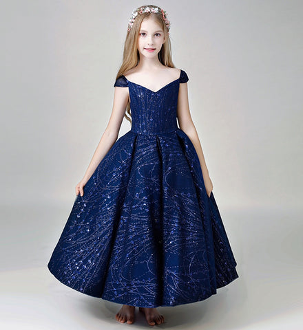 Girly Shop's Dark Blue Simple Sequin Applique sweetheart Neckline Cap Sleeve Ankle Length Infant Toddler Little & Big Girl Party Gown