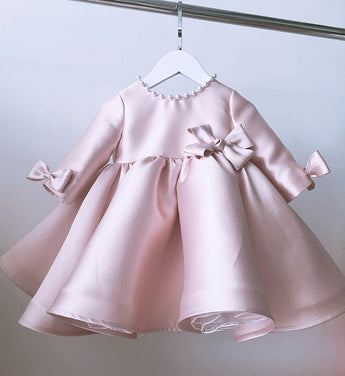 Girly Shop's Morandi Pink Beautiful Beaded Applique Round Neckline Long Sleeve Knee - Tea Length Baby Infant Toddler Little Girl Large Bow Back Dress